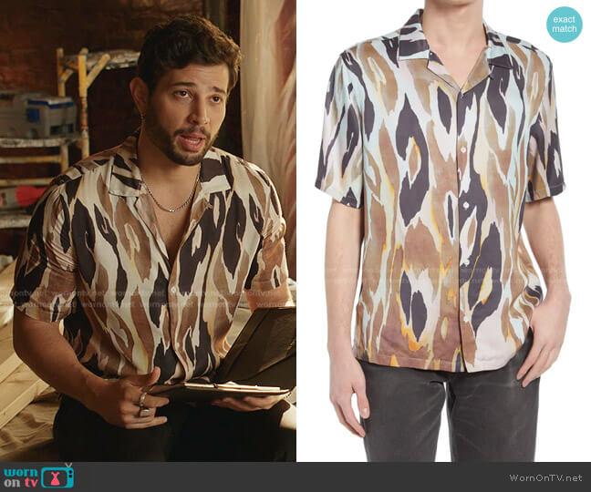 Fuego Short Sleeve Button-Up Camp Shirt by All Saints worn by Sam Flores (Rafael de la Fuente) on Dynasty