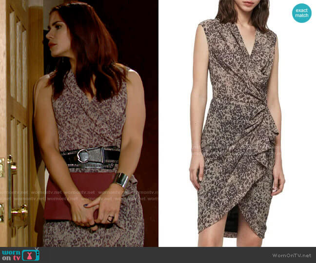 All Saints Cancity Patch Dress worn by Sally Spectra (Courtney Hope) on The Young & the Restless