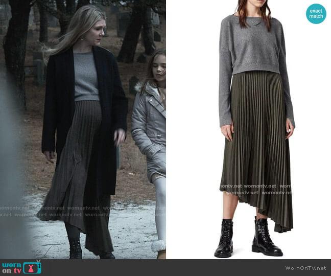 All Saints Evetta Asymmetrical Midi Dress with Crop Sweater worn by Doris Gardener (Lily Rabe) on American Horror Story