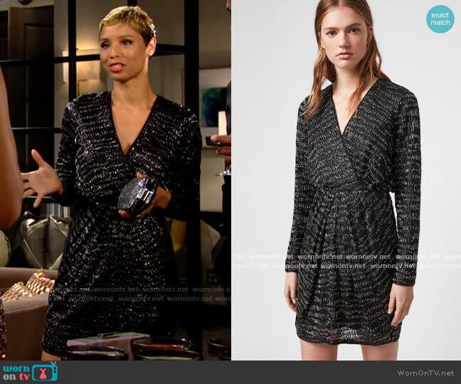 All Saints Laney Dress worn by Elena Dawson (Brytni Sarpy) on The Young & the Restless