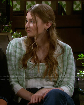 Allie's green check cardigan and cropped top on Days of our Lives