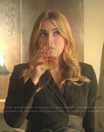 Amanda's black wrap blazer dress on Dynasty