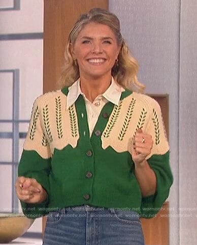 Amanda's green scalloped trim cardigan on The Talk