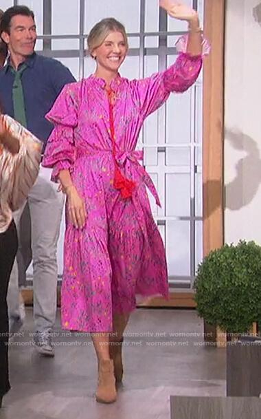 Amanda's pink floral tassel tie dress on The Talk