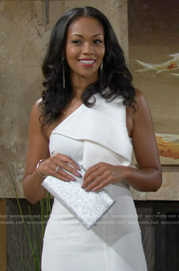 Amanda's white one-shoulder dress on The Young and the Restless