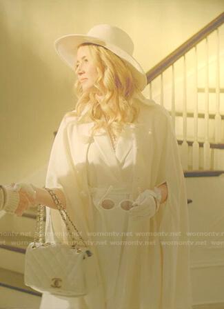 Amanda's white cape coat and hat on Dynasty