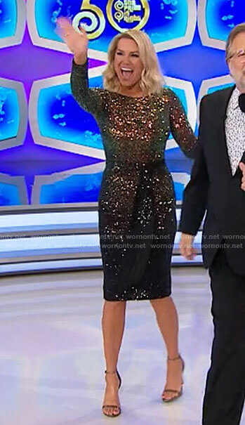 Rachel's gold and black ombre sequin dress on The Price is Right