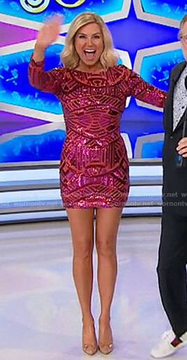 Rachel's pink geometric patterned sequin mini dress on The Price is Right