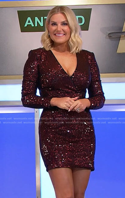 Rachel's red sequin long sleeve mini dress on The Price is Right