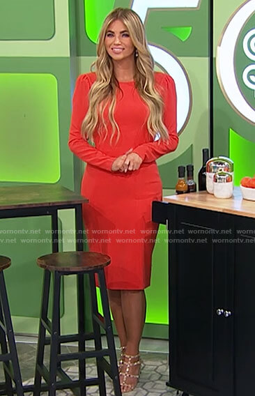 Amber's orange long sleeve dress on The Price is Right