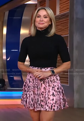 Amy's black button detail sweater and pink leopard skirt on Good Morning America