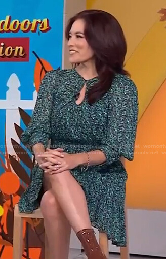 Amy Goodman's green floral keyhole dress on Today