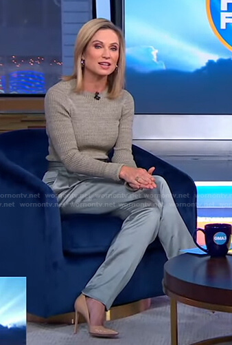 Amy's green ribbed sweater and satin pants on Good Morning America