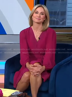 Amy's pink pleated v-neck dress on Good Morning America