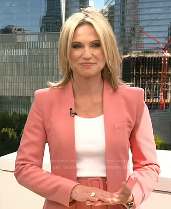 Amy's pink jacket and belted pants on Good Morning America
