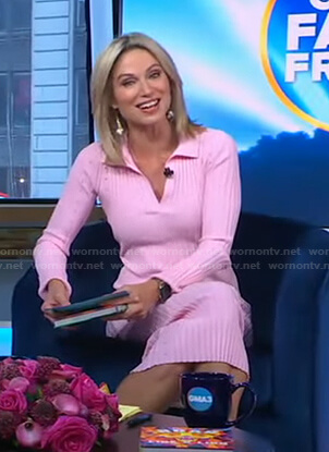 Amy's pink ribbed polo dress on Good Morning America