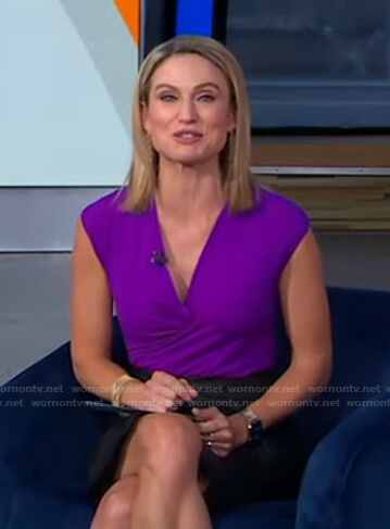 Amy's purple wrap short sleeve top on Good Morning America