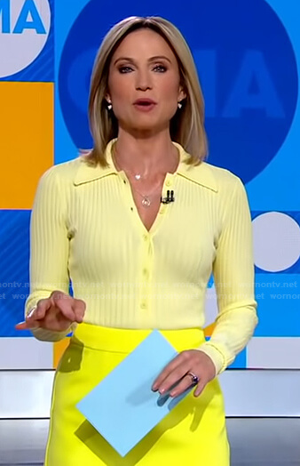 Amy's yellow ribbed polo top and mini skirt on Good Morning America