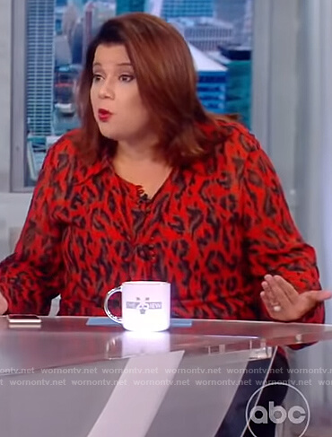 Ana's red leopard print blouse on The View