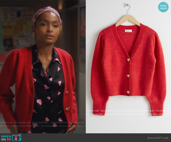 Playful Button Knit Cardigan by & Other Stories worn by Zoey Johnson (Yara Shahidi) on Grown-ish