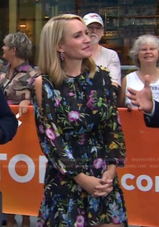 Andrea Canning's black floral button-sleeve mini dress on Today