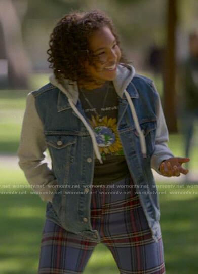 Angie's sunflower t-shirt and hooded denim jacket on The L Word Generation Q