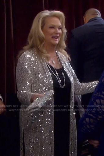 Anna's sequin kimono jacket on Days of our Lives: Beyond Salem