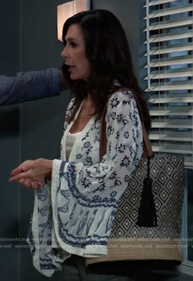 Anna's white printed bell sleeve top on General Hospital