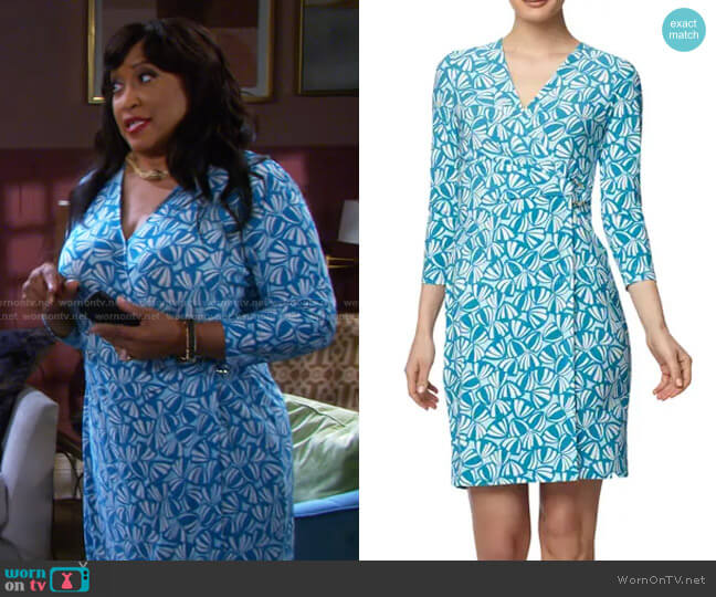 Signature Wrap Dress in Calypso Blue Combo by Anne Klein worn by Paulina Price (Jackée Harry) on Days of our Lives