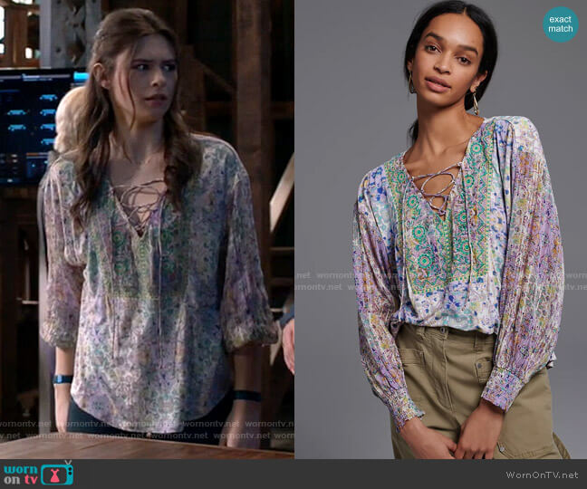 Anthropologie Odetta Embroidered Top worn by Nia Nal (Nicole Maines) on Supergirl