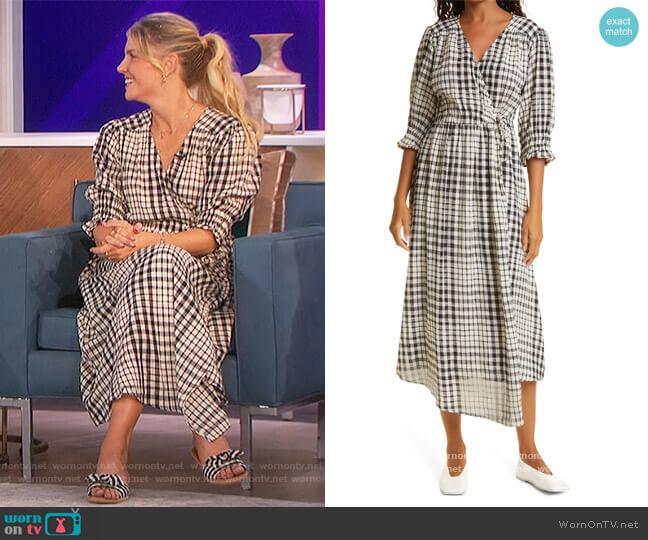 Lucinda Plaid Cotton Wrap Midi Dress by Apiece Apart worn by Amanda Kloots  on The Talk