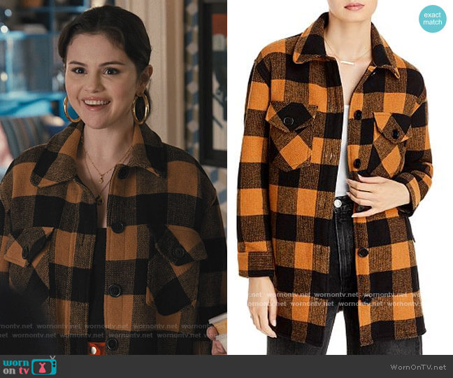 Woven Plaid Coat by Aqua worn by Mabel Mora (Selena Gomez) on Only Murders in the Building