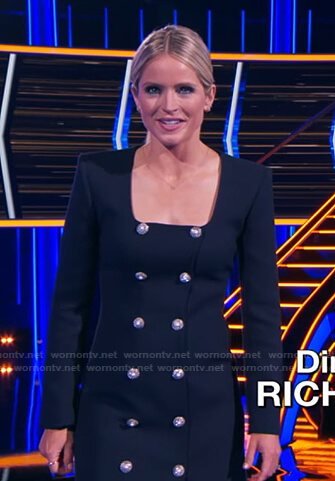 Sara's navy embellished button square neck dress on The Chase