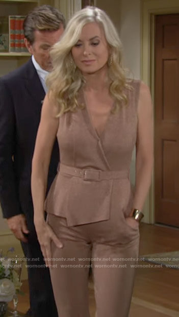 Ashley's metallic peplum jumpsuit on The Young and the Restless