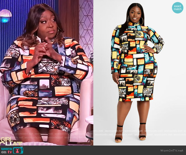 Abstract Mock Neck Keyhole Dress by Ashley Stewart worn by Loni Love  on The Real