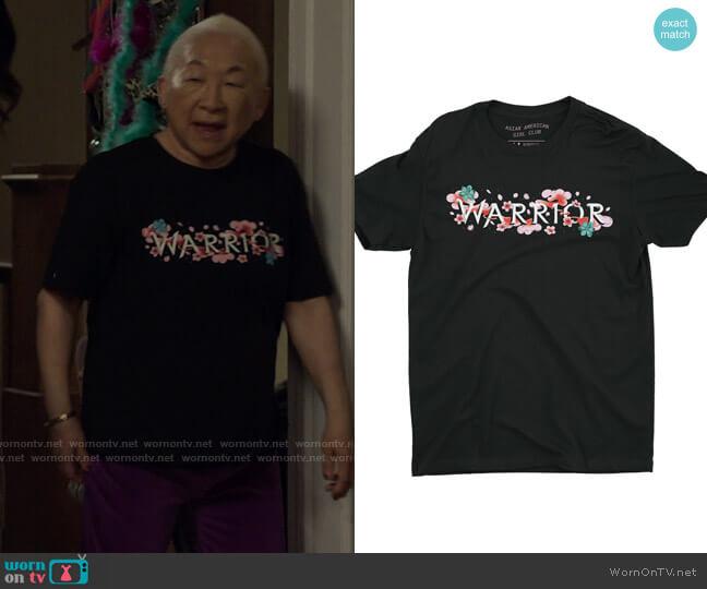 Asian American Girl Club The Warrior Tee worn by Grandma (Lori Tan Chinn) on Awkwafina is Nora From Queens
