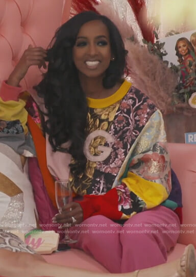 Askale's patch work DG sweatshirt on The Real Housewives of Potomac