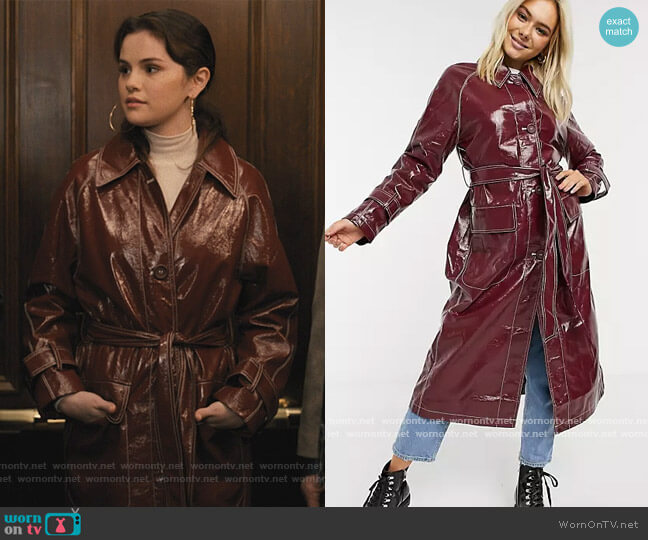 Vinyl Trench Coat by ASOS worn by Mabel Mora (Selena Gomez) on Only Murders in the Building