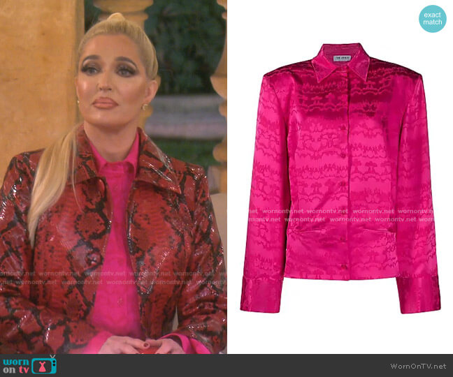 Abstract-Print Classic-Collar Shirt by The Attico worn by Erika Jayne  on The Real Housewives of Beverly Hills