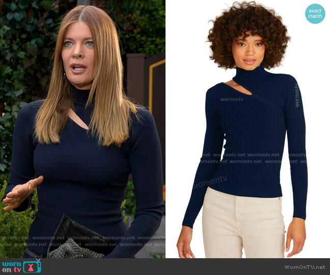 Autumn Cashmere Slash Mock Neck Sweater worn by Phyllis Summers (Michelle Stafford) on The Young & the Restless