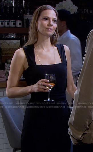 Ava's black square neck sleeveless dress on Days of our Lives