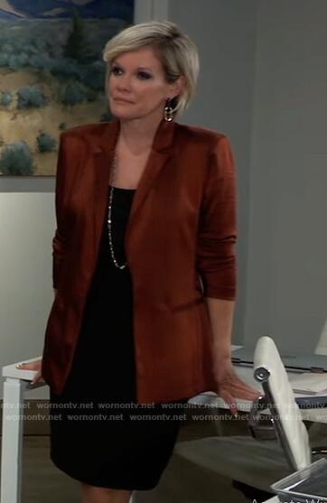 Ava's brown satin blazer on General Hospital