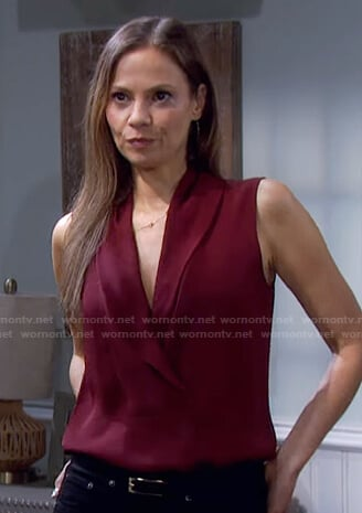 Ava's red shawl collar sleeveless top on Days of our Lives