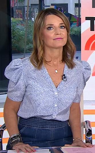 Savannah's blue print puff sleeve top and denim skirt on Today