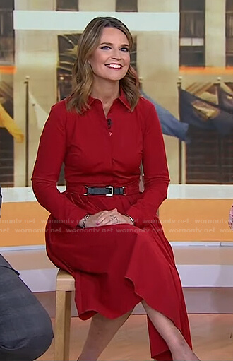 Savannah's red belted shirtdress on Today
