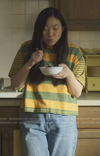 Nora's yellow striped t-shirt on Awkwafina is Nora From Queens