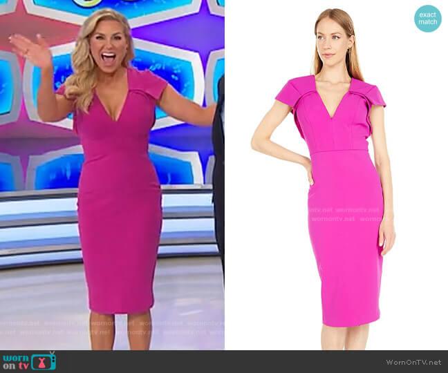 Badgley Mischka V-Neck Cap Sleeve Shift Dress worn by Rachel Reynolds  on The Price is Right