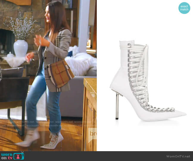 Corset Stiletto Leather Booties by Balenciaga worn by Lisa Barlow  on The Real Housewives of Salt Lake City