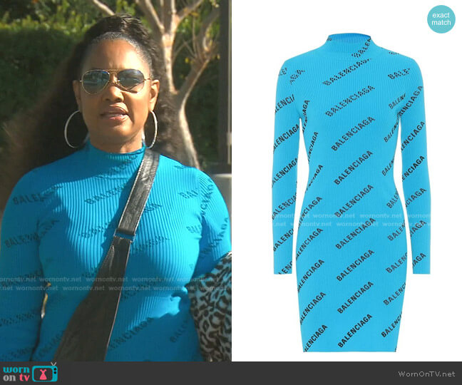 Logo Print Knit Dress by Balenciaga worn by Garcelle Beauvais  on The Real Housewives of Beverly Hills