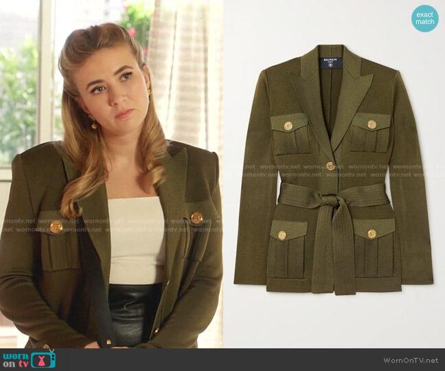 Belted knitted jacket by Balmain worn by Amanda Carrington (Eliza Bennett) on Dynasty